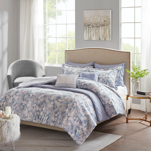 8pc Blue Floral Comforter/Coverlet Set AND Decorative Pillows (Erica-Blue-Comf)