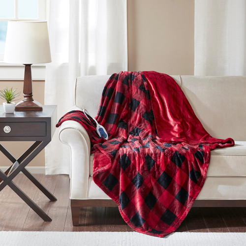 "Oversized Red & Black HEATED Buffalo Checkered Throw Blanket - 60x70"" (Jacob Heated-Red/Black-throw)"