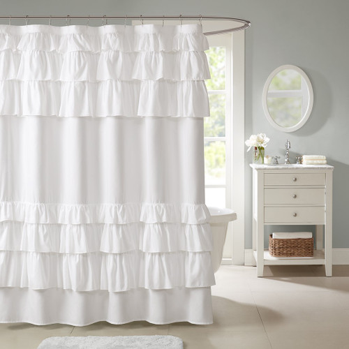 "White Oversize Ruffled Microfiber Fabric Shower Curtain - 72"" x 72"" (Grace -White-Shower)"