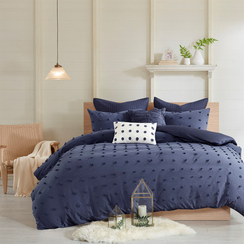 Dark Blue on Dark Blue Cotton Tufts Comforter Set AND Decorative Pillows (Brooklyn-Indigo)