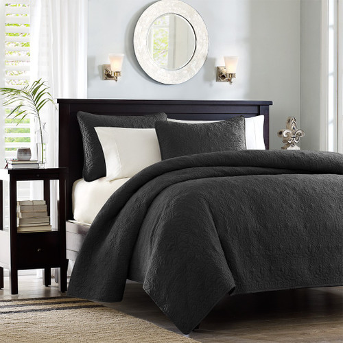 3pc Black Quilted Coverlet Set AND Decorative Pillow Shams (Quebec -Black-Cov)