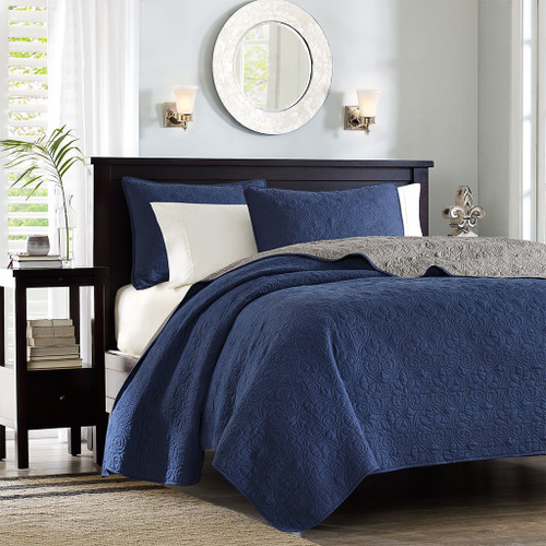 3pc Navy Blue & Grey Quilted Coverlet Set AND Decorative Pillow Shams (Quebec -Navy/Dark Grey-Cov)