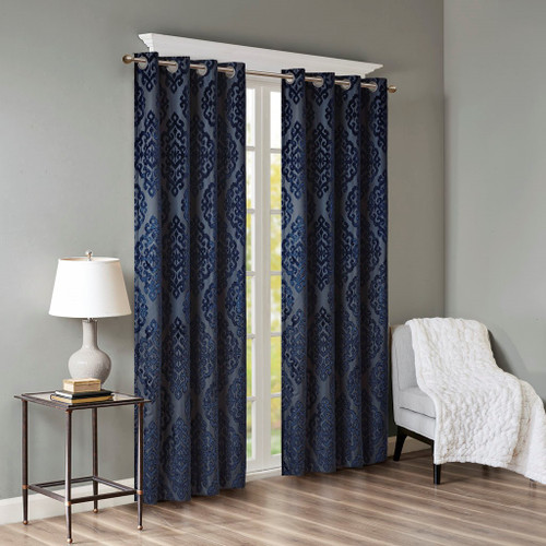Navy Blue Knitted Jacquard TOTAL BLACKOUT Grommet Top Curtain Panel (Mirage-Navy-Panel)
