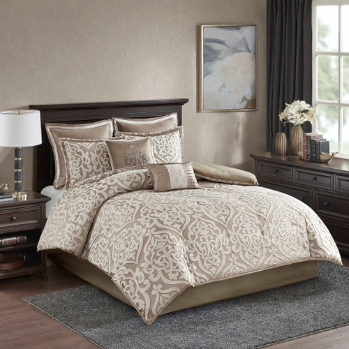 8pc Tan Textured Jacquard Comforter Set AND Decorative Pillows (Odette-tan)