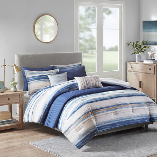 8pc Coastal Blue Stripes Comforter/Coverlet Set AND Decorative Pillows (Marina-Blue-comf)