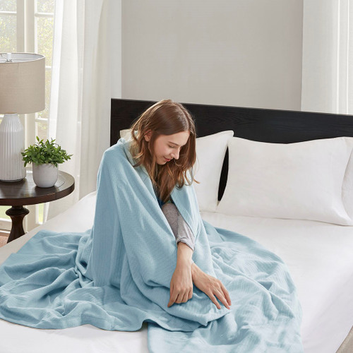 Blue Year Round High Quality Liquid Cotton Blanket (Liquid-Blue-blanket)