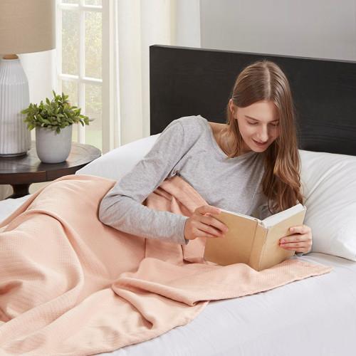 Blush Pink Year Round High Quality Liquid Cotton Blanket (Liquid-Blush-blanket)