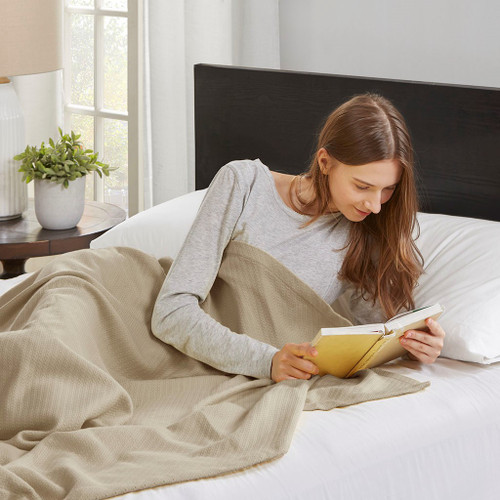 Linen Brown Year Round High Quality Liquid Cotton Blanket (Liquid-Linen-blanket)
