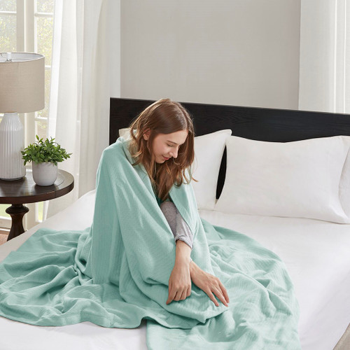 Seafoam Green Year Round High Quality Liquid Cotton Blanket (Liquid-Seafoam-blanket)