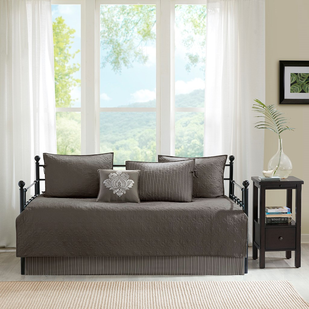 6pc Dark Grey Quilted Daybed Set AND Decorative Pillow (Quebec-Dark Grey-DB)