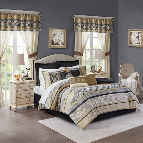 24pc Black & Gold Comforter Set, Sheets, Pillows, Curtains AND More (Windsor-Black/Gold)