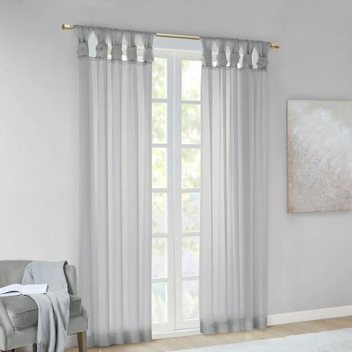 Set of 2 Light Grey Sheer Twist Tab Window Curtain Panels (Ceres-Light Grey-window)