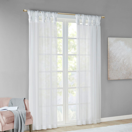Set of 2 White Sheer Twist Tab Window Curtain Panels (Ceres-White-window)