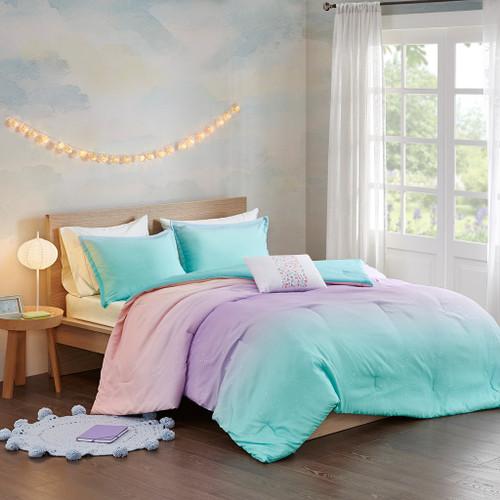 Glimmer Metallic Aqua Glitter Printed Reversible Comforter Set (Glimmer Metallic -Aqua-Comf)