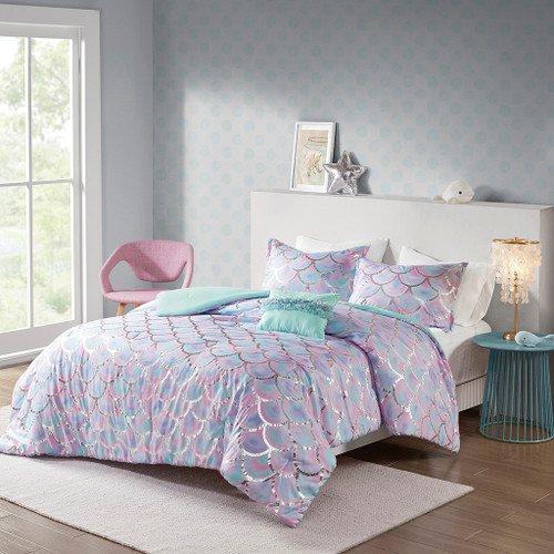 Pearl Metallic Aqua/Purple Printed Reversible Comforter Set (Pearl Metallic -Aqua/Purple-Comf)