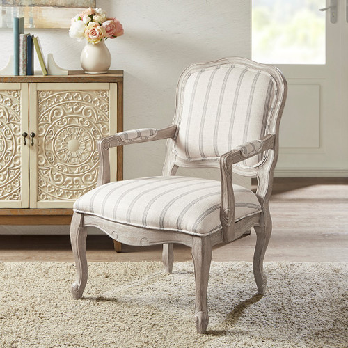 Natural Hues of Brown Floral Monroe Hand Carved Camel Back w/Exposed Wood Chair (Monroe-Multi-Natural)