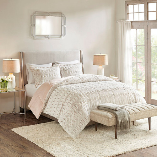 Gia Back Blush Print Long Fur Comforter Mini Set (Gia Back -Blush-Comf)