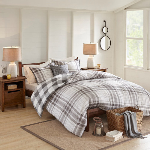 Sheffield Grey 4 Piece Cotton Printed Reversible Comforter Set (Sheffield -Grey-Comf)