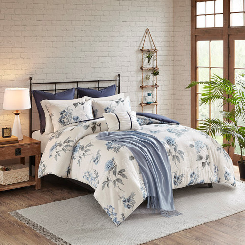 Zennia Blue 7 Piece Printed Seersucker Comforter Set with Throw Blanket (Zennia -Blue-Comf)