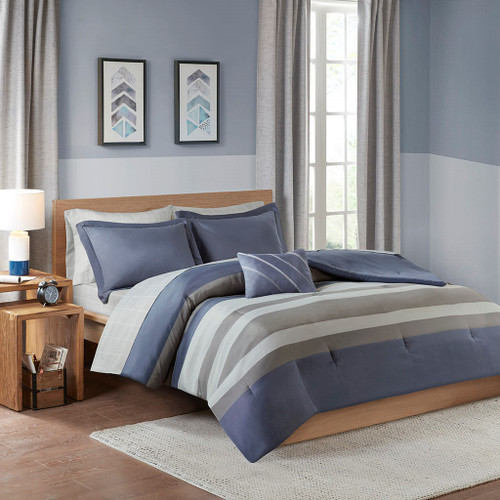 Marsden Complete Blue/Grey Bed Set Including Sheets (Marsden Complete -Blue/Grey-Comf)