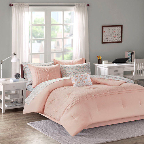 Toren Embroidered Pink Comforter and Sheet Set (Toren Embroidered -Pink-Comf)