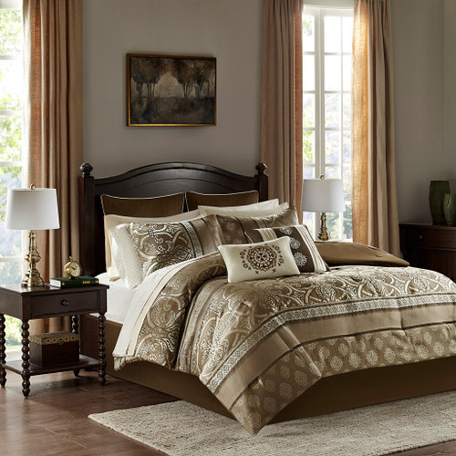 Zara 16 Piece Brown Jacquard Complete Bedding Set With 2 Sheet Sets (Zara 16 Piece -Brown-Comf)