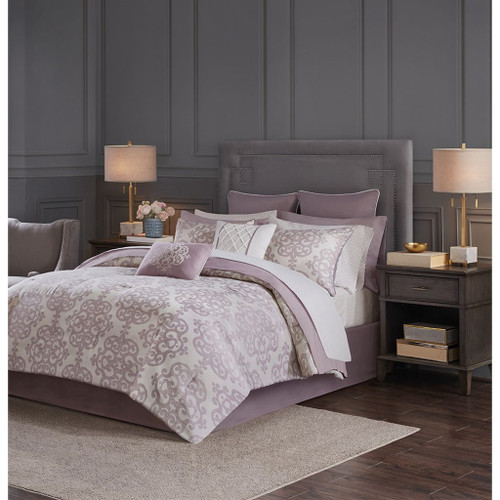 Madeline 16 Piece Purple Jacquard Complete Bedding Set with 2 Sheet Sets (Madeline 16 Piece -Purple -Comf)