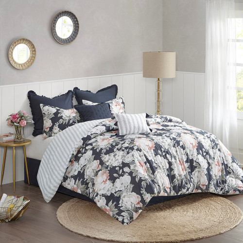 Mavis Dark Blue 8 Piece Cotton Printed Reversible Comforter Set (Mavis Dark -Blue-Comf)