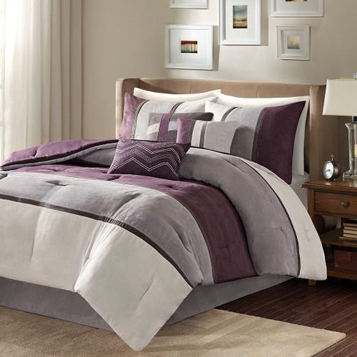 Palisades Purple 7 Piece Faux Suede Comforter Set (Palisades -Purple-Comf)