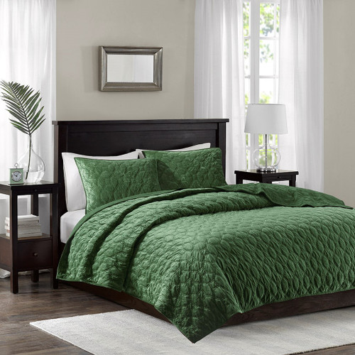 3pc Olive Green Velvety Soft Geometric Stitch Coverlet Quilt AND Decorative Shams (Harper-Olive-cov)