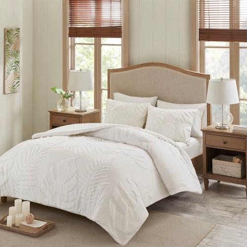 Bahari White 3 Piece Tufted Cotton Chenille Palm Comforter Set (Bahari -White-Comf)