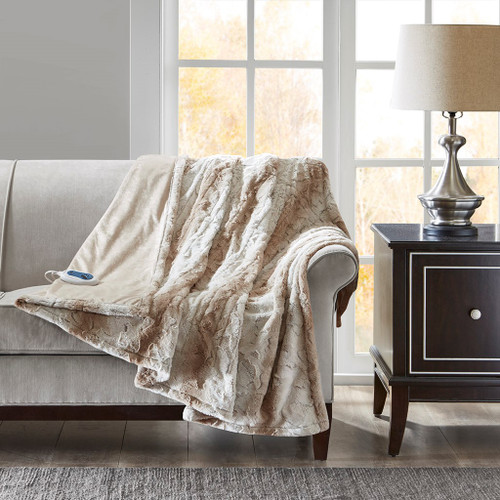 "Light Brown Sand Oversized Faux Fur Heated Throw - 50X70"" (086569027900)"