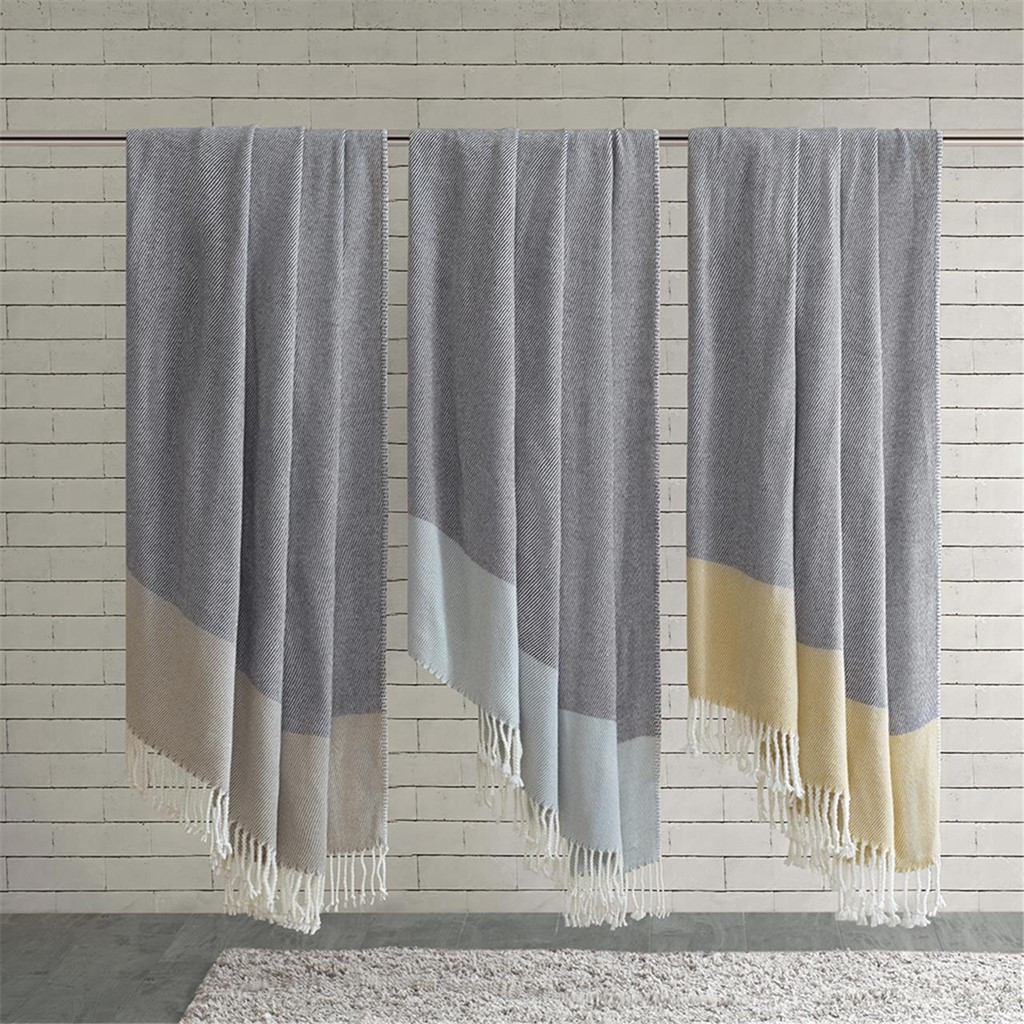 "Yellow Color Block Acrylic Throw w/Fringes - 50x60"" (675716805456)"