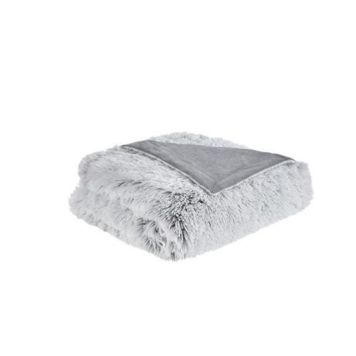 "Grey Shaggy Faux Fur Soft Throw 50X60"" (086569138064)"