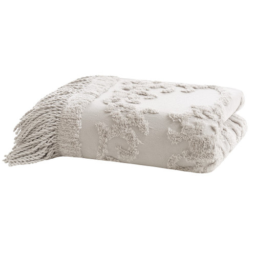 """Soft Grey Cotton Tufted Textured Throw w/Fringes - 50x60"""" (086569995414)"""