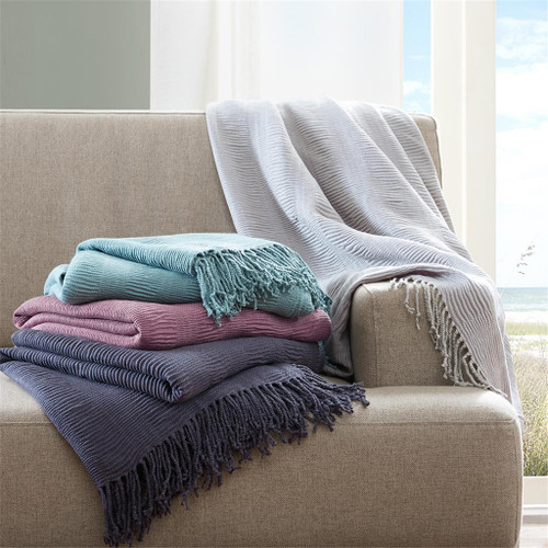 "Grey Soft Acrylic Ruched Throw Blanket w/Fringes - 50x60"" (675716775544)"