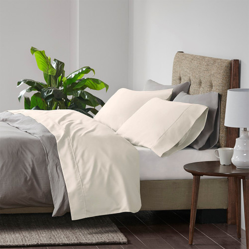 Ivory 4pc 600 Thread Count Cooling Cotton Rich Sheet Set - QUEEN (086569216984)