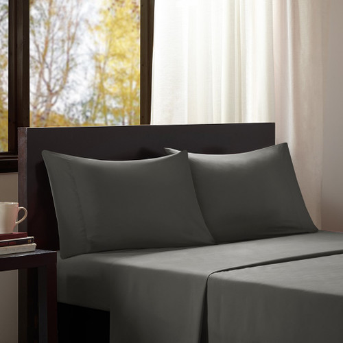 4pc Charcoal Grey Microfiber All Season Wrinkle-Free Sheet Set - KING (675716879044)