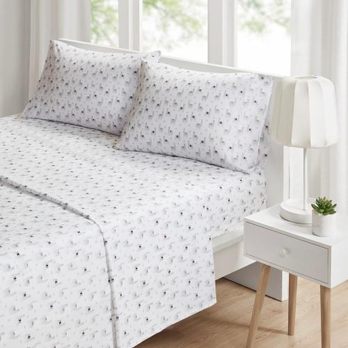 3pc Grey & White Llamas Novelty Microfiber Printed Sheet Set - TWIN (086569034137)