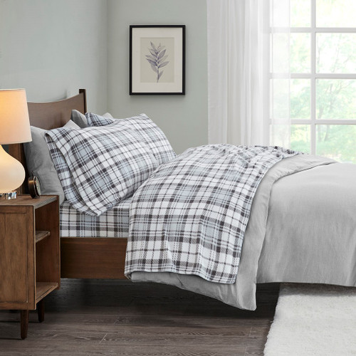 4pc KING Grey Plaid Micro Fleece Sheet Set (675716816308)