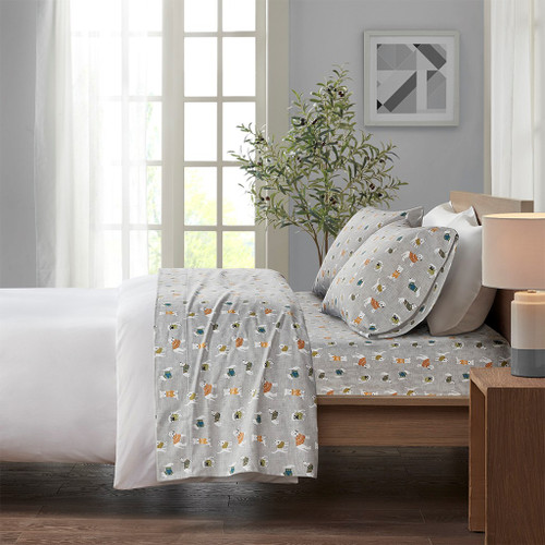 Grey Dogs & Pups Playful Flannel Cotton Printed Sheet Set (Cozy Flannel-Grey Dogs)