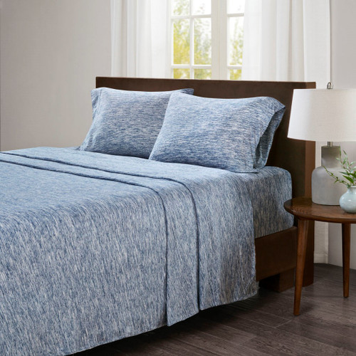 Speckled Blue & White Cotton Jersey Knit Sheet Set (Spaced Dyed-Blue)