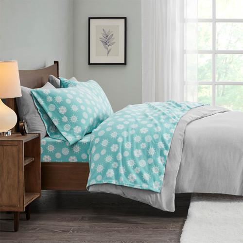 3pc TWIN Blue Snowflake Micro Fleece Sheet Set (675716815677)