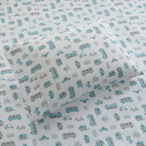 3pc Grey/Blue Road Trip Novelty Printed Sheet Set - TWIN (086569034106)