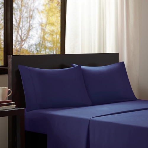 3pc Navy Blue Microfiber All Season Wrinkle-Free Sheet Set - TWIN (675716623197)