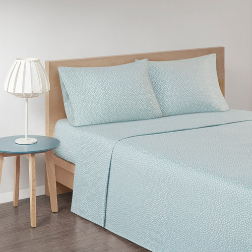 Aqua Blue & White Polka Dots Flannel Cotton Printed Sheet Set (Cozy Flannel-Aqua)