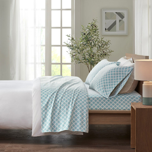 Aqua Blue & White Geometric Design Flannel Cotton Printed Sheet Set (Cozy Flannel-Aqua Geo)