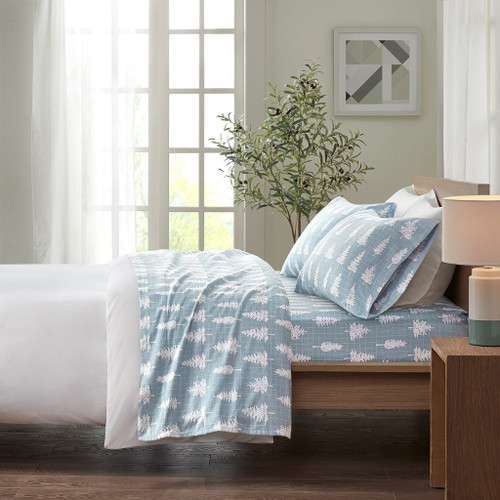 Blue & White Forest Trees Design Cotton Flannel Printed Sheet Set (Cozy Flannel-Blue Forest)