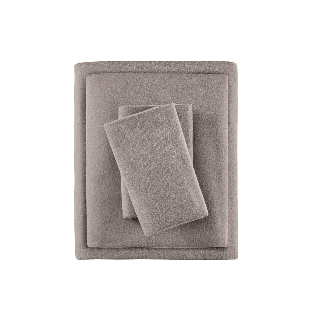 Solid Grey Cotton Flannel Printed Sheet Set (Cozy Flannel-Grey Solid)