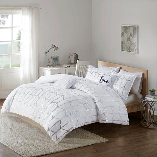 White & Metallic Silver Geometric Duvet Cover Set AND Decorative Pillows (Raina-White/Silver-duv)
